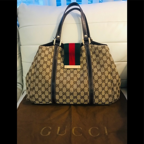 🌹 Authentic Gucci Web Sherry Tote ❤️ Purse